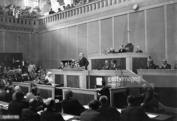 Leon Blum performing a speech at the League of Nations in Geneva July 1936