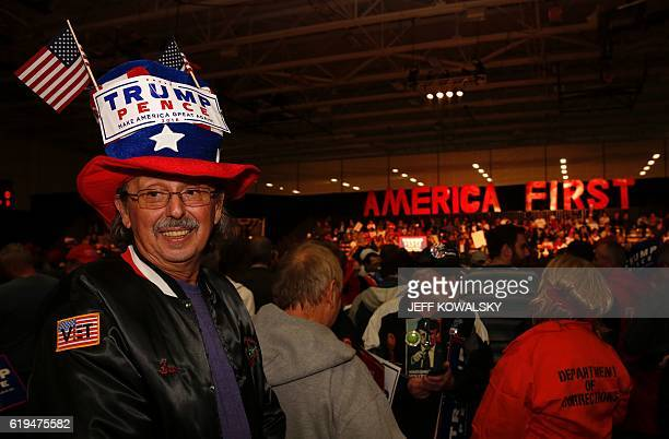 Leon Bodner waits to see US Republican Presidential nominee Donald Trump speak at Macomb Community College on October 31 2016 in Warren Michigan /...