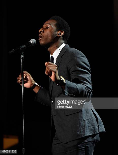 Leon Bridges performs onstage during the 30th Annual Rock And Roll Hall Of Fame Induction Ceremony at Public Hall on April 18 2015 in Cleveland Ohio