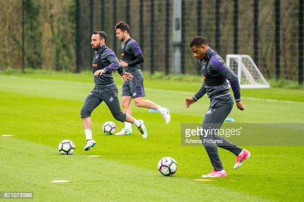Leon Britton Jordi Amat and Luciano Narsingh during the Swansea City Training at The Fairwood Training Ground on April 20 2017 in Swansea Wales