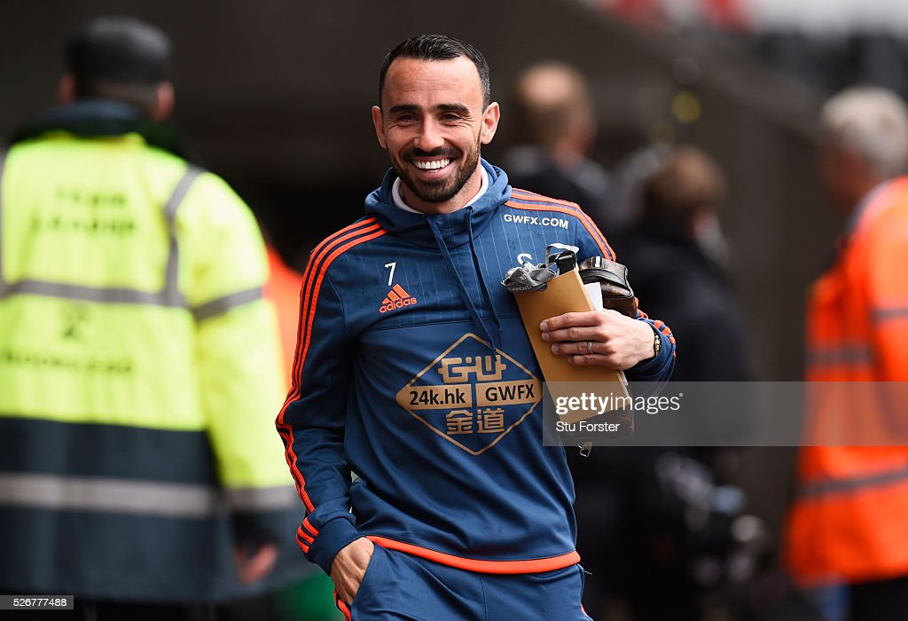 Leon Britton of Swansea City arrives for the Barclays Premier League match between Swansea City and Liverpool at The Liberty Stadium on May 1, 2016 in Swansea, Wales.