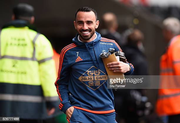 Leon Britton of Swansea City arrives for the Barclays Premier League match between Swansea City and Liverpool at The Liberty Stadium on May 1 2016 in...