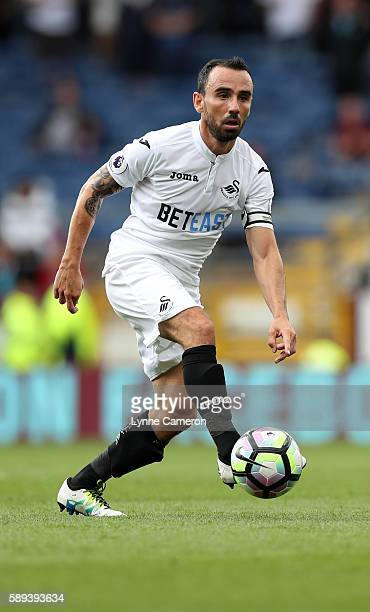Leon Britton of Swansea City during the Premier League match between Burnley and Cardiff City at Turf Moor on August 13 2016 in Burnley England