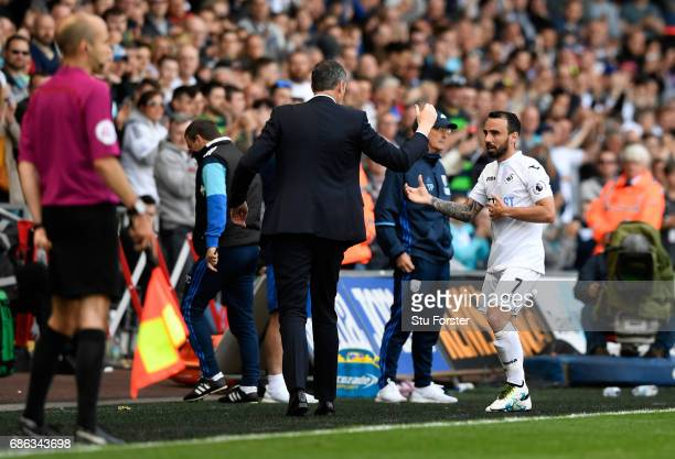 Leon Britton of Swansea City leaves the pitch after the Premier League match between Swansea City and West Bromwich Albion at Liberty Stadium on May...
