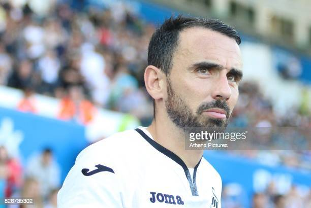 Leon Britton of Swansea City prior to kick off of the preseason friendly match between Swansea City and Sampdoria at The Liberty Stadium on August 5...