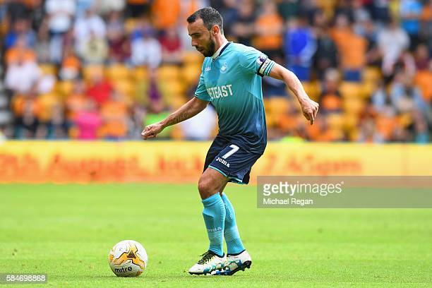 Leon Britton of Swansea in action during the friendly match between Wolverhampton Wanderers and Swansea City at Molineux on July 30 2016 in...