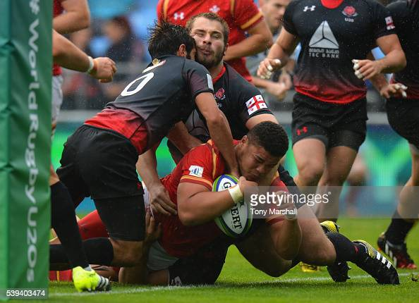 Leon Brown of Wales powers over the line to score their first try against Georgia during the World Rugby U20 Championship match between Wales and...