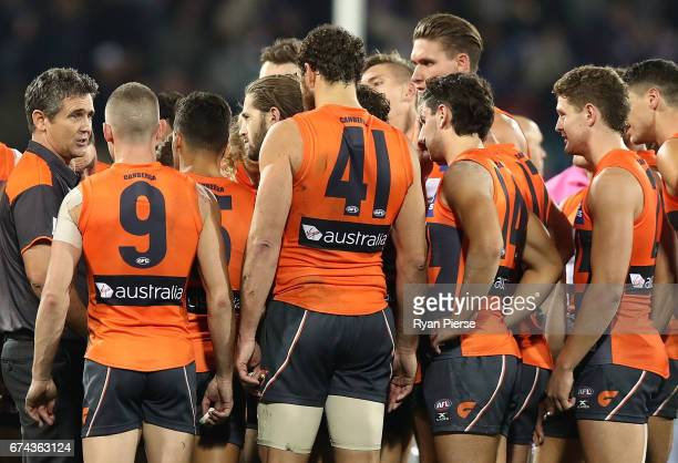 Leon Cameron coach of the Giants addresses his players during the round six AFL match between the Greater Western Sydney Giants and the Western...