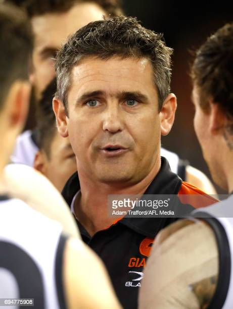 Leon Cameron Senior Coach of the Giants addresses his players during the 2017 AFL round 12 match between the Carlton Blues and the GWS Giants at...