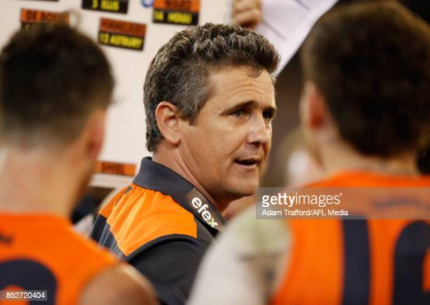Leon Cameron Senior Coach of the Giants addresses his players during the 2017 AFL Second Preliminary Final match between the Richmond Tigers and the...