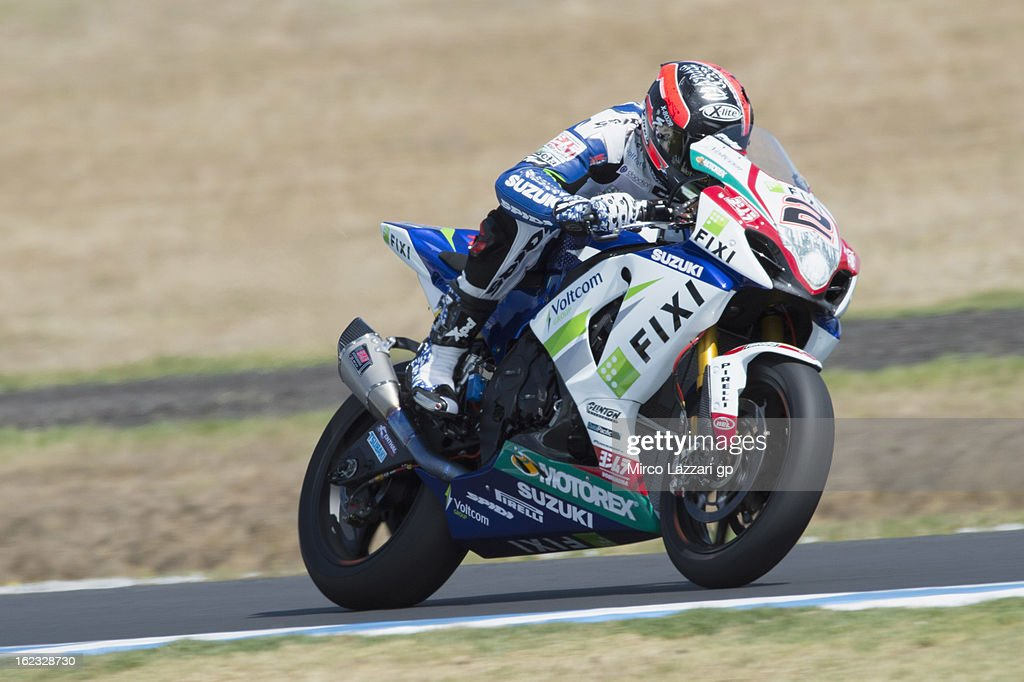 Leon Camier of Great Britain and Crescent Fixi Suzuki heads down a straight during qualifying practice ahead of the World Superbikes at Phillip Island Grand Prix Circuit on February 22, 2013 in Phillip Island, Australia.