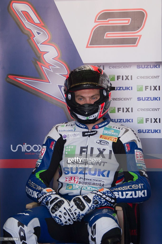 Leon Camier of Great Britain and Crescent Fixi Suzuki looks on in box during the qualifying during the round first of 2013 Superbike FIM World Championship at Phillip Island Grand Prix Circuit on February 23, 2013 in Phillip Island, Australia.