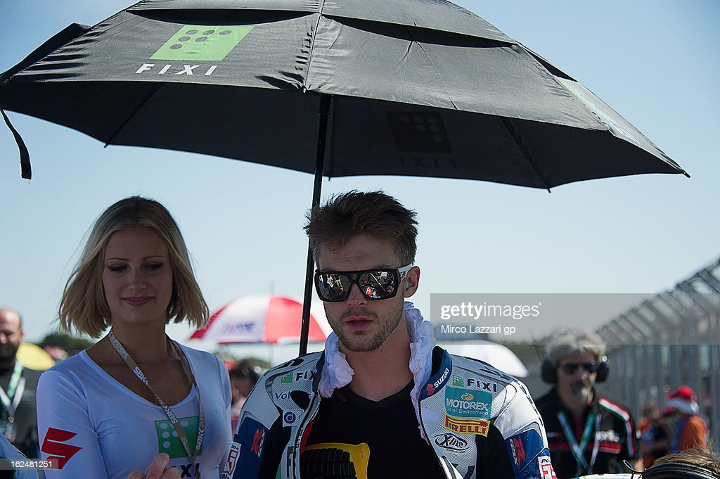 Leon Camier of Great Britain and Crescent Fixi Suzuki prepares to start on the grid during the race 1 during the round first of 2013 Superbike FIM World Championship at Phillip Island Grand Prix Circuit on February 24, 2013 in Phillip Island, Australia.