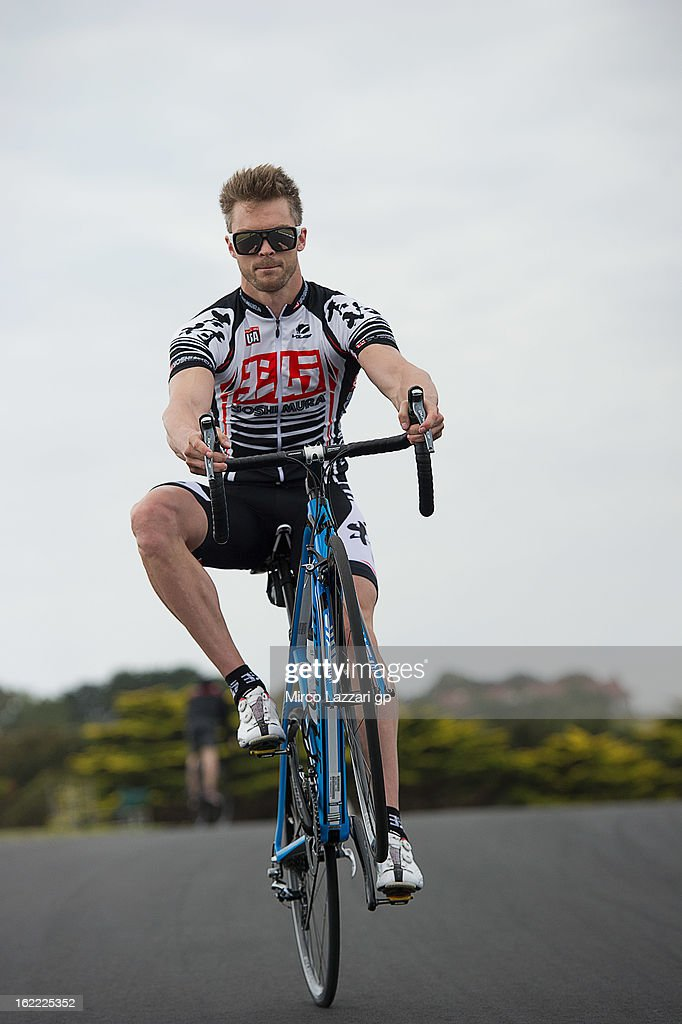 Leon Camier of Great Britain and Crescent Fixi Suzuki rides during the event 'Track lap on bicycles' at Phillip Island Grand Prix Circuit on February 21, 2013 in Phillip Island, Australia.