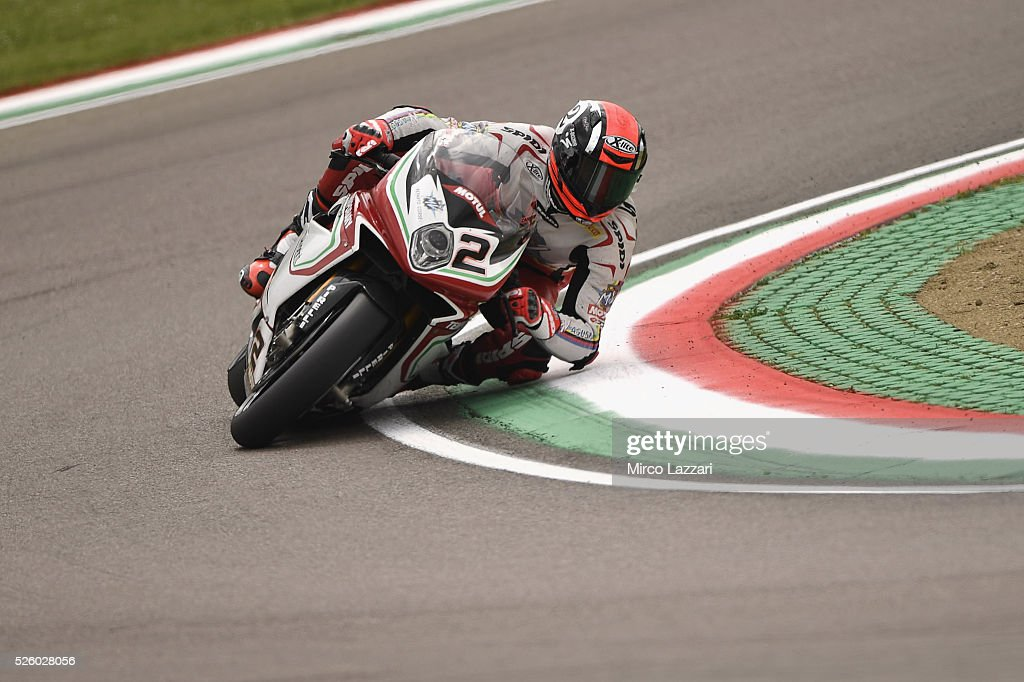 Leon Camier of Great Britain and MV Augusta Reparto Corse rounds the bend during the World Superbikes - Practice at Enzo & Dino Ferrari Circuit on April 29, 2016 in Imola, Italy.
