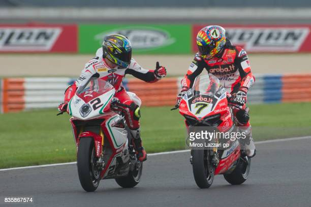 Leon Camier of Great Britain and MV Augusta Reparto Corse congratulates with Chaz Davies of Great Britain and ARUBAIT RACINGDUCATI at the end of the...