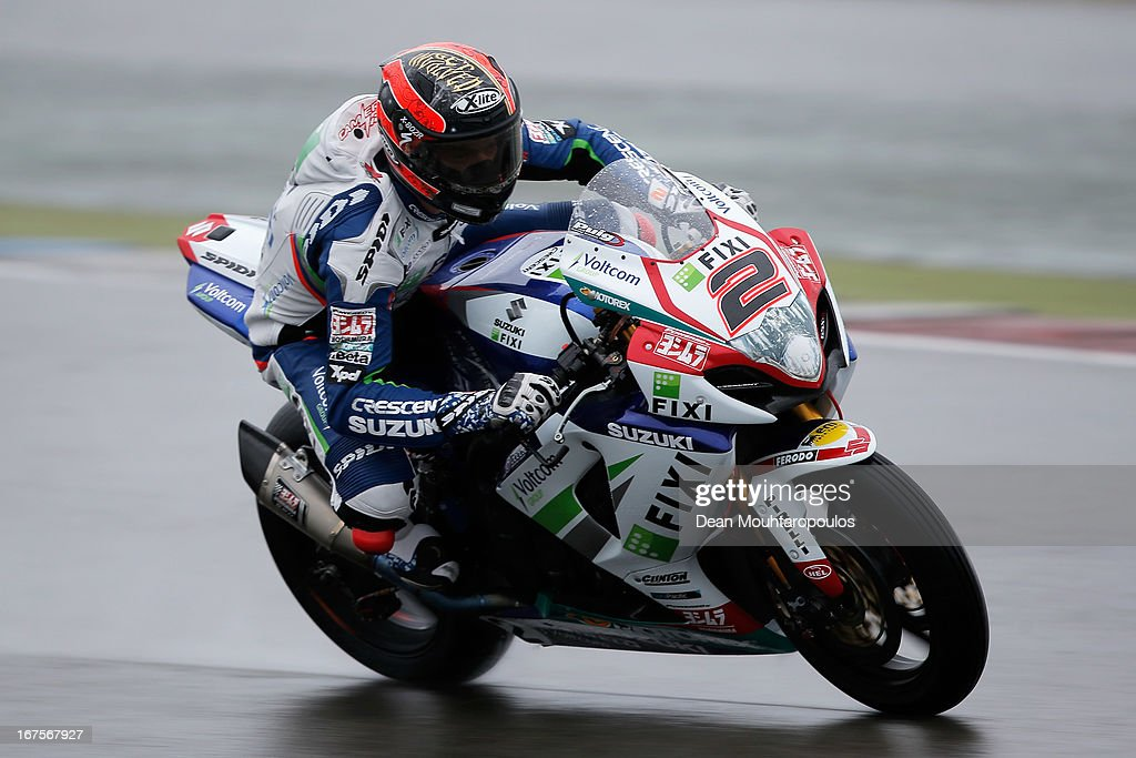 Leon Camier(#2) of Great Britain on the Suzuki GSX-R1000 forFixi Crescent Suzuki competes during the World Superbikes Practice Session at TT Circuit Assen on April 26, 2013 in Assen, Netherlands.