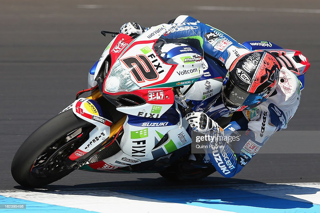Leon Camier of Great Britain riding the #2 Fixi Crescent Suzuki during qualifying for the World Superbikes at Phillip Island Grand Prix Circuit on February 23, 2013 in Phillip Island, Australia.