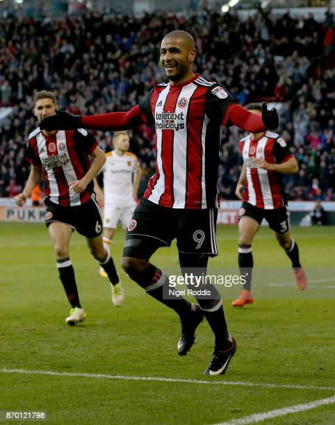Leon Clarke of Sheffield United celebrates scoring during the Sky Bet Championship match between Sheffield United and Hull City at Bramall Lane on...