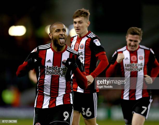 Leon Clarke of Sheffield United celebrates scoring his fourth goal during the Sky Bet Championship match between Sheffield United and Hull City at...