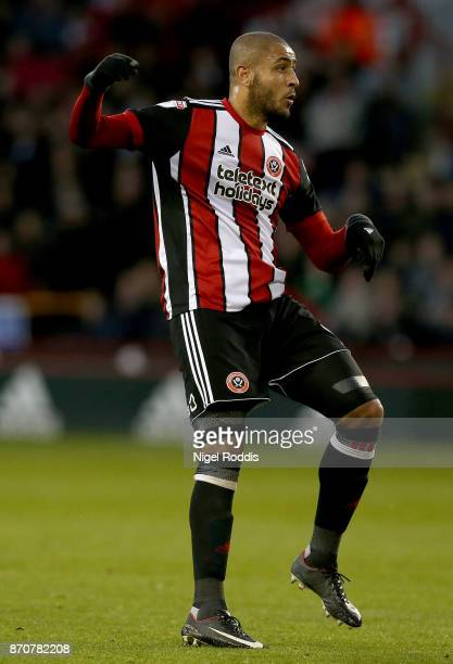 Leon Clarke of Sheffield United during the Sky Bet Championship match between Sheffield United and Hull City at Bramall Lane on November 4 2017 in...