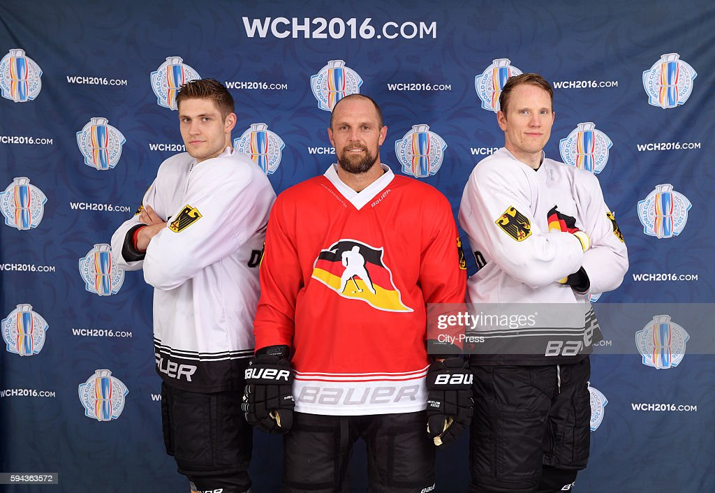 Leon Draisaitl Dennis Seidenberg and Christian Ehrhoff of Team Germany attend a World Cup of Hockey 2016 presentation at SAP Arena on August 23 2016...