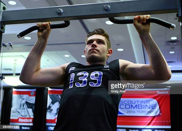 Leon Draisaitl does a pullup during the the NHL Combine testing May 31 2014 at the Westin Bristol in Toronto Ontario Canada