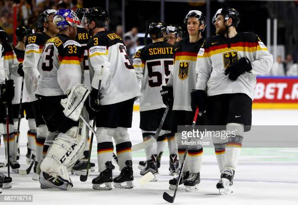 Leon Draisaitl of Germany celebrate with his team mamtes after the 2017 IIHF Ice Hockey World Championship game between Italy and Germany at Lanxess...