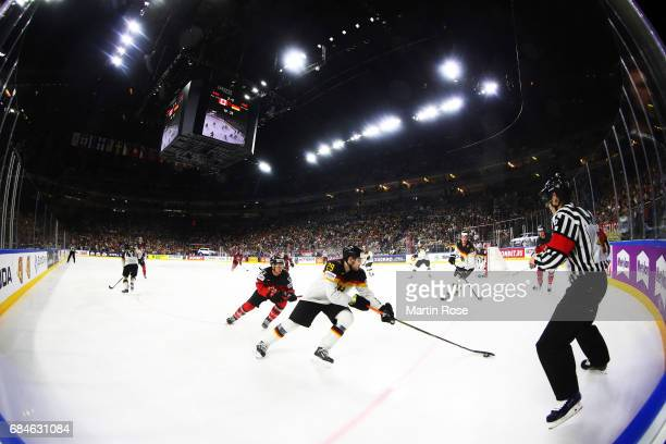 Leon Draisaitl of Germany in action during the 2017 IIHF Ice Hockey World Championship Quarter Final game between Canada and Germany at Lanxess Arena...