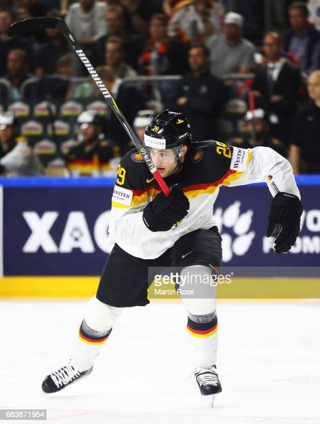 Leon Draisaitl of Germany in action during the Germany v Latvia match of the 2017 IIHF Ice Hockey World Championships at Lanxess Arena on May 16 2017...