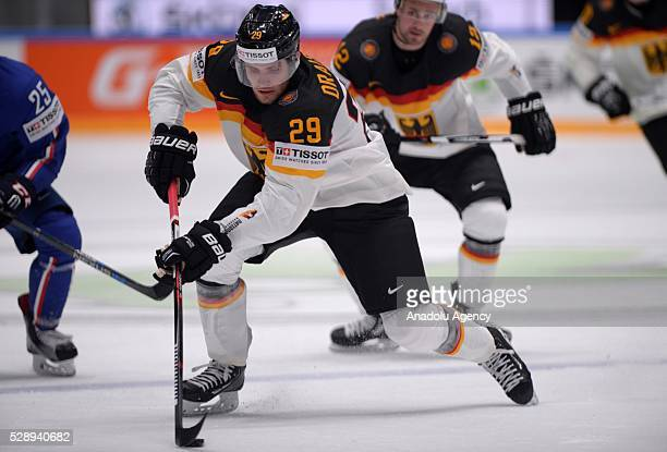 Leon Draisaitl of Germany leads the puck during the IIHF Ice Hockey World Championship Group B preliminary round game between France and Germany at...
