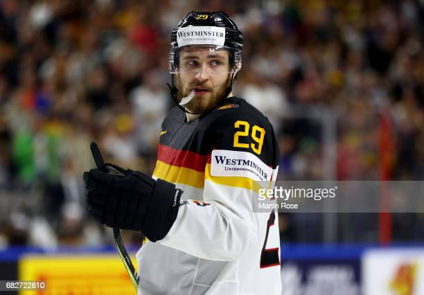 Leon Draisaitl of Germany reacts during the 2017 IIHF Ice Hockey World Championship game between Italy and Germany at Lanxess Arena on May 13 2017 in...