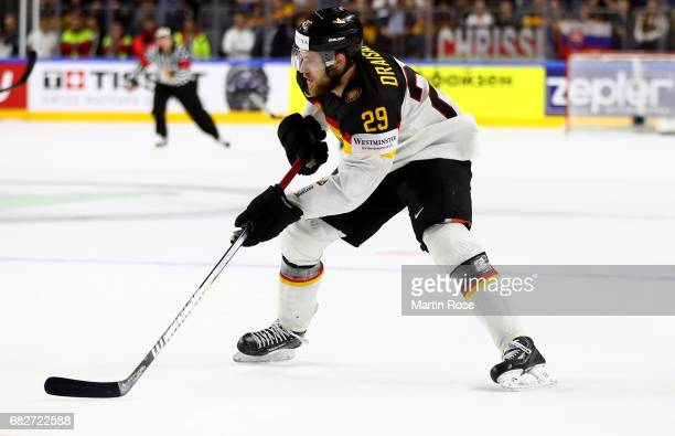 Leon Draisaitl of Germany skates against Italy during the 2017 IIHF Ice Hockey World Championship game between Italy and Germany at Lanxess Arena on...