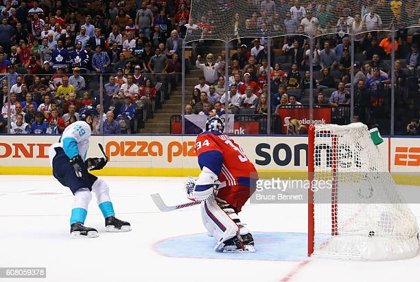 Leon Draisaitl of Team Europe scores the game winner in overtime against Petr Mrazek of Team Czech Republic during the World Cup of Hockey tournament...