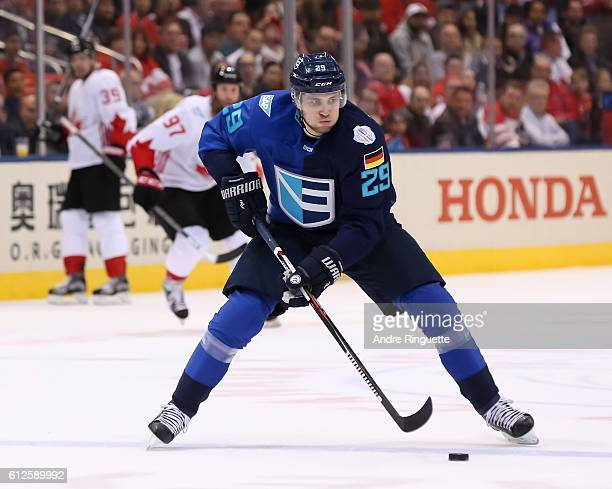 Leon Draisaitl of Team Europe stickhandles the puck against Team Canada during Game Two of the World Cup of Hockey final series at the Air Canada...