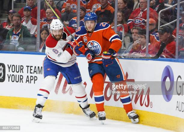 Leon Draisaitl of the Edmonton Oilers battles with Shea Weber of the Montreal Canadiens on March 12 2017 at Rogers Place in Edmonton Alberta Canada