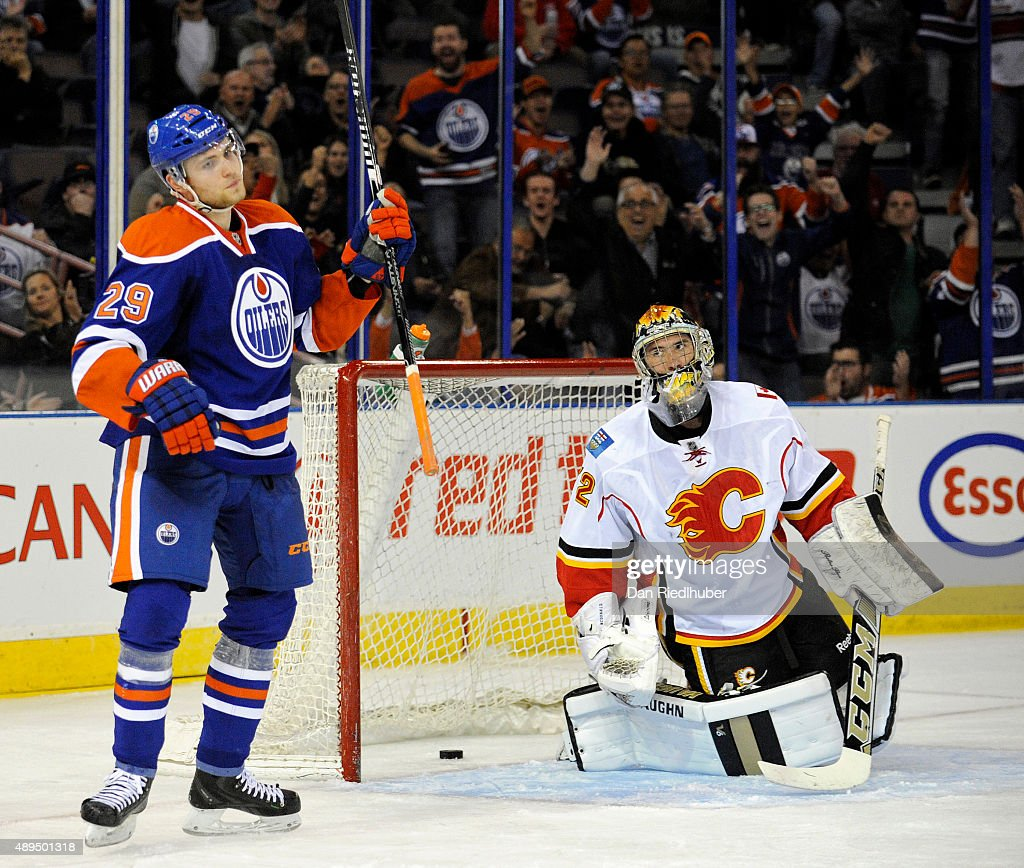 Leon Draisaitl #29 of the Edmonton Oilers celebrates a goal against goalie Mason McDonald #72 of the Calgary Flames at Rexall Place on September 21, 2015 in Edmonton, Alberta, Canada.
