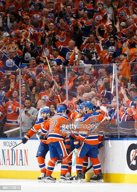 Leon Draisaitl of the Edmonton Oilers celebrates a goal against the Anaheim Ducks in Game Six of the Western Conference Second Round during the 2017...