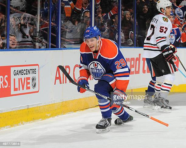 Leon Draisaitl of the Edmonton Oilers celebrates after scoring the game tying goal in the game against the Chicago Blackhawks on November 18 2015 at...