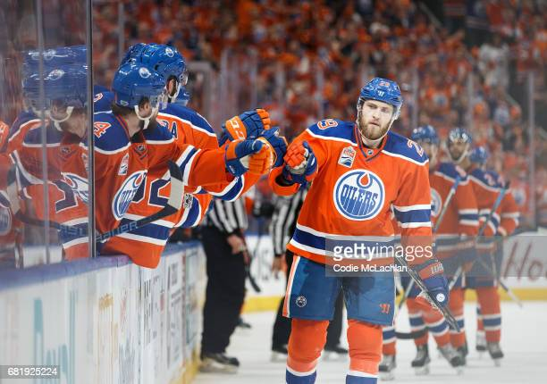 Leon Draisaitl of the Edmonton Oilers celebrates his first of three goals against the Anaheim Ducks in Game Six of the Western Conference Second...