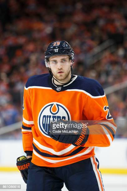 Leon Draisaitl of the Edmonton Oilers during a break in play against the Winnipeg Jets at Rogers Place on October 9 2017 in Edmonton Canada