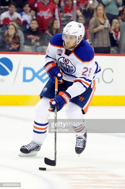Leon Draisaitl of the Edmonton Oilers handles the puck against the Washington Capitals at Verizon Center on February 24 2017 in Washington DC