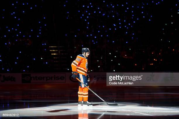 Leon Draisaitl of the Edmonton Oilers is introduced prior to the start of the Oilers home opener against the Calgary Flames at Rogers Place on...