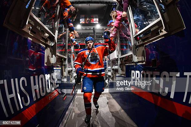 Leon Draisaitl of the Edmonton Oilers leaves the ice after warmup prior to the game against the Vancouver Canucks on December 31 2016 at Rogers Place...