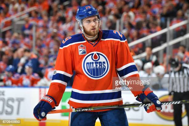 Leon Draisaitl of the Edmonton Oilers lines up for a face off in Game Five of the Western Conference First Round during the 2017 NHL Stanley Cup...