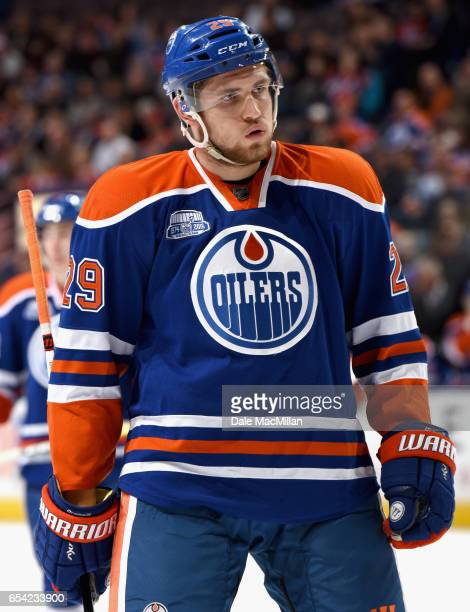 Leon Draisaitl of the Edmonton Oilers play in the game against the Nashville Predators at Rexall Place on March 14 2016 in Edmonton Alberta Canada