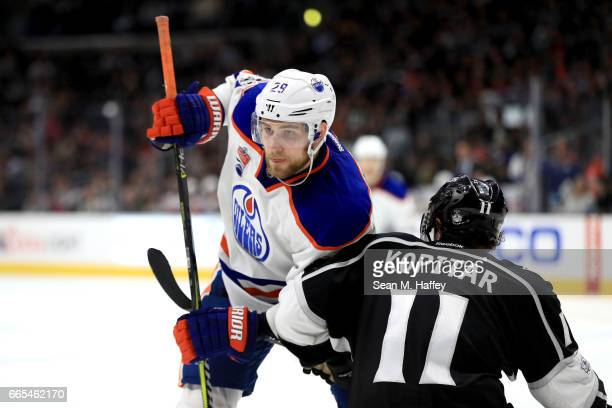 Leon Draisaitl of the Edmonton Oilers pushes against Anze Kopitar of the Los Angeles Kings during the third period of a game at Staples Center on...