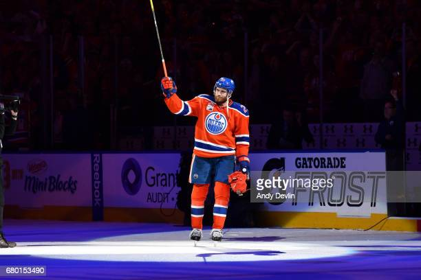 Leon Draisaitl of the Edmonton Oilers salutes the the crowd after being selected as the first star following Game Six of the Western Conference...