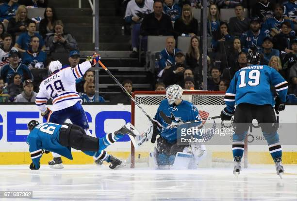 Leon Draisaitl of the Edmonton Oilers scores a goal on Martin Jones of the San Jose Sharks in the second period of Game Six of the Western Conference...