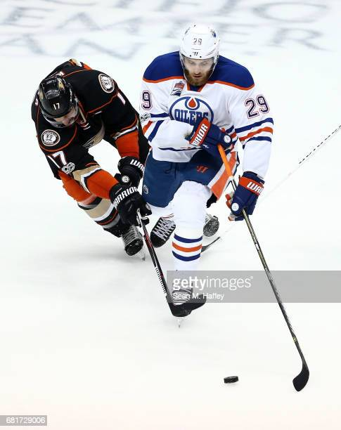 Leon Draisaitl of the Edmonton Oilers skates against Ryan Kesler of the Anaheim Ducks in Game Seven of the Western Conference Second Round during the...